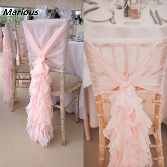 ruffle chair sashes deer blind curly willow ruffles wedding chiavari chiffon back cover sash for decoration 50 pcs lot