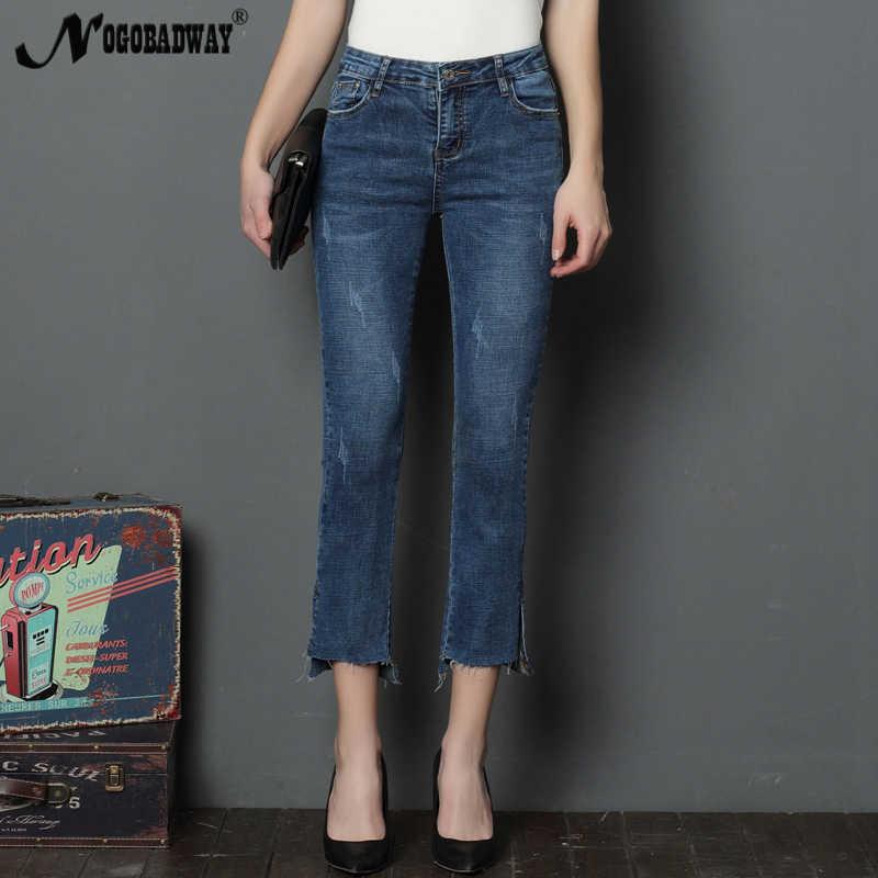 1ab93a25b5d Calf-length vintage women jeans summer 2018 casual fashion denim flare  pants slim skinny ladies