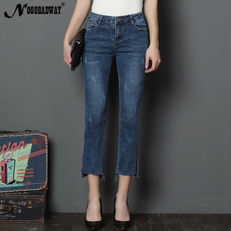Calf length vintage women jeans summer 2018 casual fashion denim