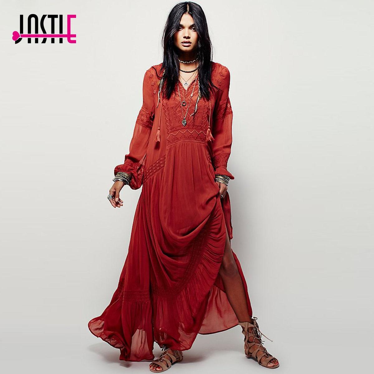 Jastie Women Dresses Elegant Ladies Vintage Long Sleeve Embroideried Orange Red Maxi Dress Vestidos Femininos Boho