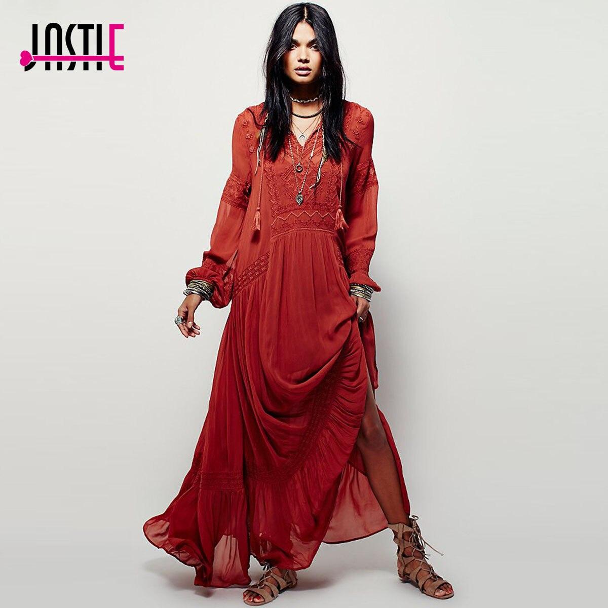Jastie Embroidered Boho Maxi Dress J5207