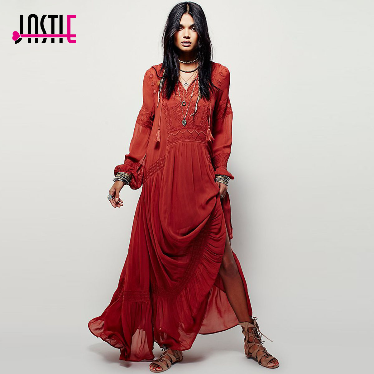 Jastie mujeres Vestidos elegantes señoras Vintage manga larga bordado naranja rojo Maxi vestido Vestidos femeninos estilo bohemio 2017-in Vestidos from Ropa de mujer    1