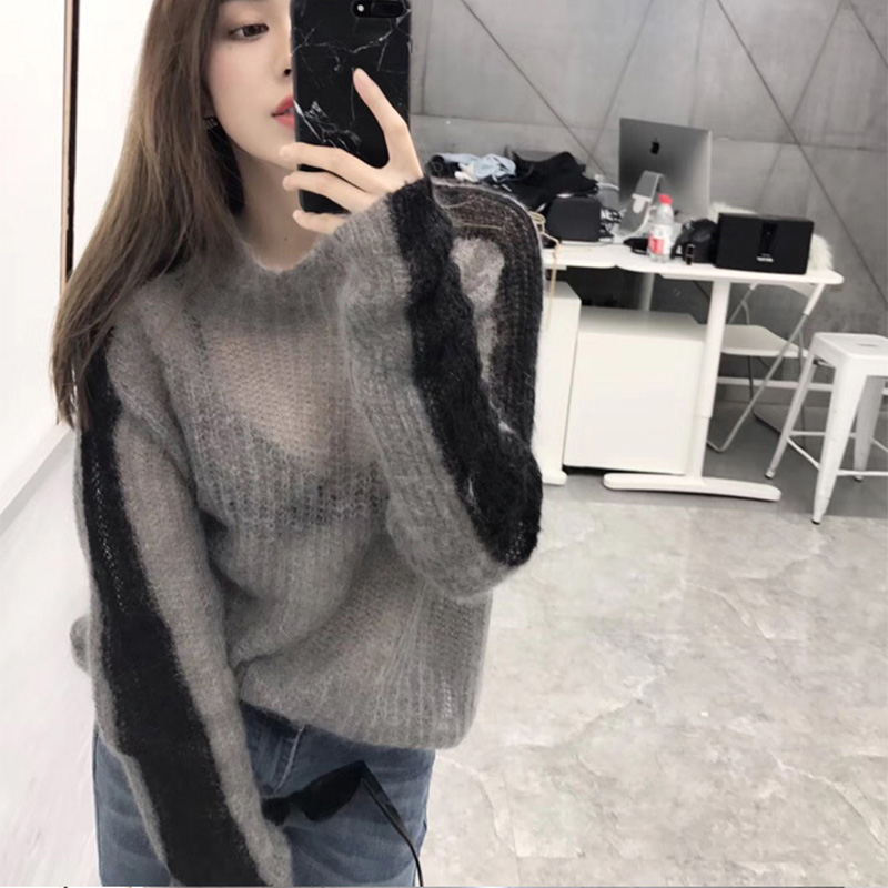 Cheerart Autumn 2018 Thin Sweater Women High Neck Patchwork Grey Knitted Sweater Pullover Transparent Pull Femme Fashion