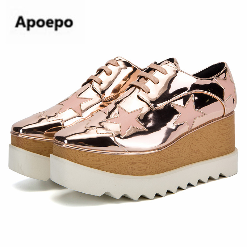 sales Brand Spring Summer Champagne Star High Platform Shoes Lace up Casual  Sponge Shoes For Women height Increasing shoes-in Women s Pumps from Shoes  on ... 6bfa9ad787eb