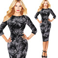 2017 moda floral impresión retro blac dress for women ropa ete bata más el tamaño s/m/l/xl/xxl