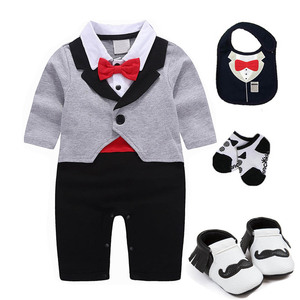 Image 1 - 1 set baby wedding birthday party Tuxedo twins cotton bodysuit outfits & set Christening suit photo props outfits
