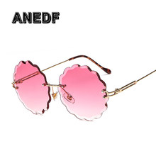 287eb3ab3c364 ANEDF 2018 Mulheres Rodada flor óculos de Sol Mulheres Grife de Luxo Óculos  de Sol de Alta Qualidade Shades UV400 Óculos Ladies .