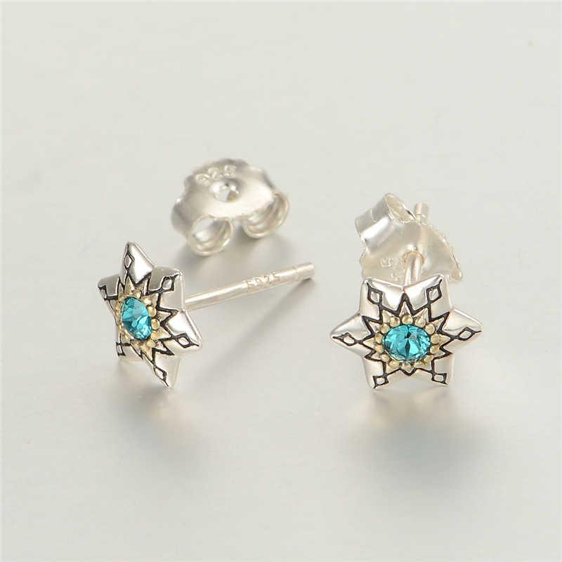 925 sterling silver earrings năm cánh sao stud bông tai với xanh pha lê cho những người yêu thích thương hiệu gw đồ trang sức er1009