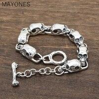 9.5mm width Pure 925 Sterling Silver Skeleton Skull Bracelets for Men Real Silver Punk Vintage Skull Chain Bracelets