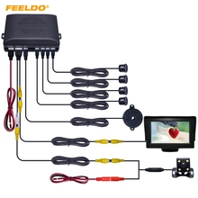 FEELDO Car 4.3″ LCD Monitor 4-sensor Parking Sensor 4-LED Night Vision CCD Camera Reversing Rearview Parking System