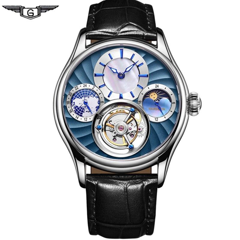 GUANQIN 2019 réel Tourbillon mécanique main vent hommes montres Top marque luxe squelette horloge hommes saphir Relogio Masculino
