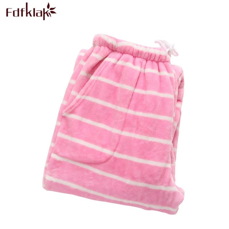Fdfklak Winter Flannel Women's Pants Trousers, Home Sleep Pants Women Pajama Bottoms Warm Striped Women Pyjama Trousers Q557