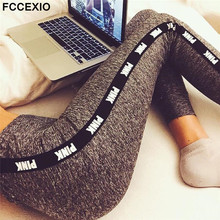 FCCEXIO New 2019 Pink Letters Print High Waist Fitness Leggings Women Sexy Sporting Jeggings Womens Workout Elastic Trousers