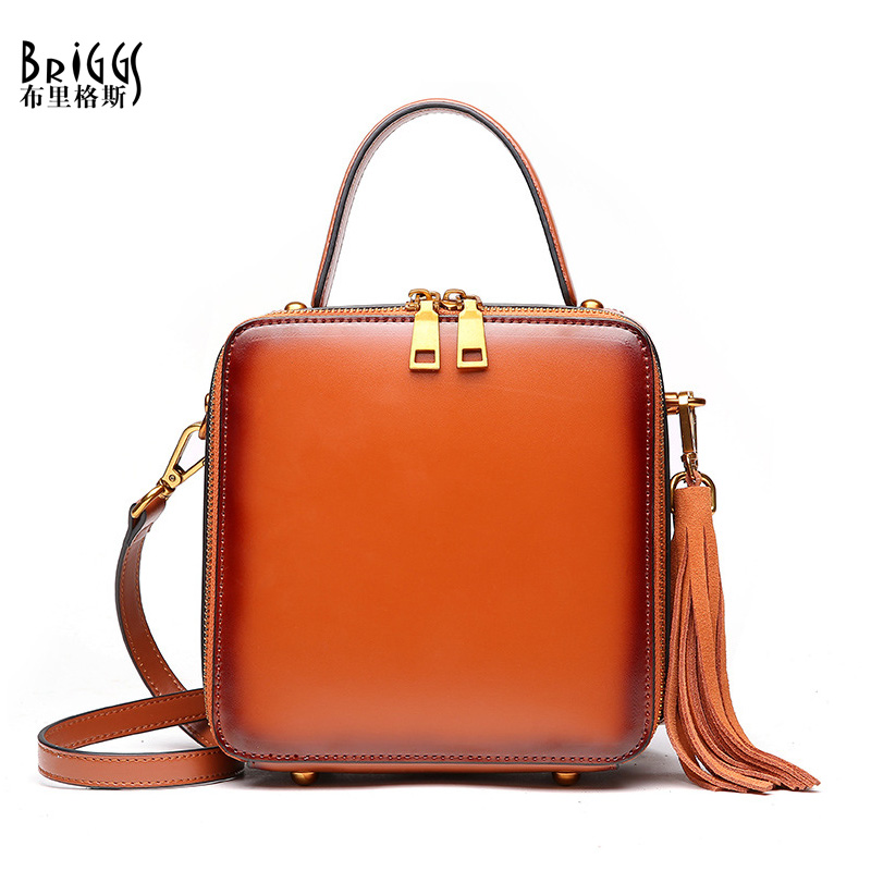BRIGGS Brand Genuine Leather Women Handbag Vintage Tassel Shoulder Bag Fashion Design Female Top-Handle Bag For women vvmi 2016 new women handbag brand design rivet suede tassel bag chic classic vintage saddle bag single shoulder bag for female