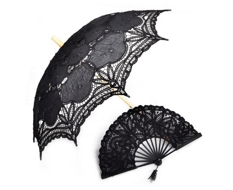 1SET ( UMBRELLA + FAN) 30'' Black FULL BATTEN LACE lolita SUN PARASOL WEDDING BRIDAL HANDMADE 2 DESIGN H106s