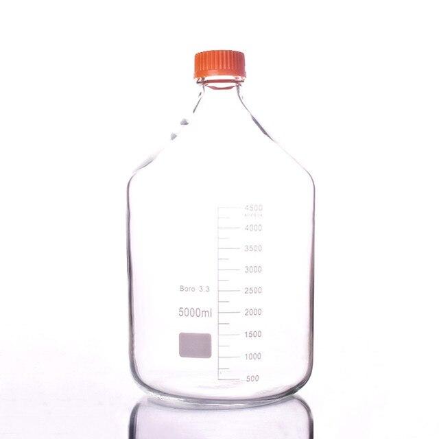 5000 Ml Glas Reagenz Flasche Blau Deckel Transparent 5 Liter