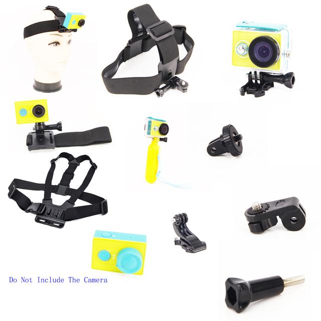 Para xiaomi yi caso da habitação à prova d' água + bobber + alça de pulso + cinta de cabeça cinto de peito + adaptador para xiao yi acessórios da câmera de esportes