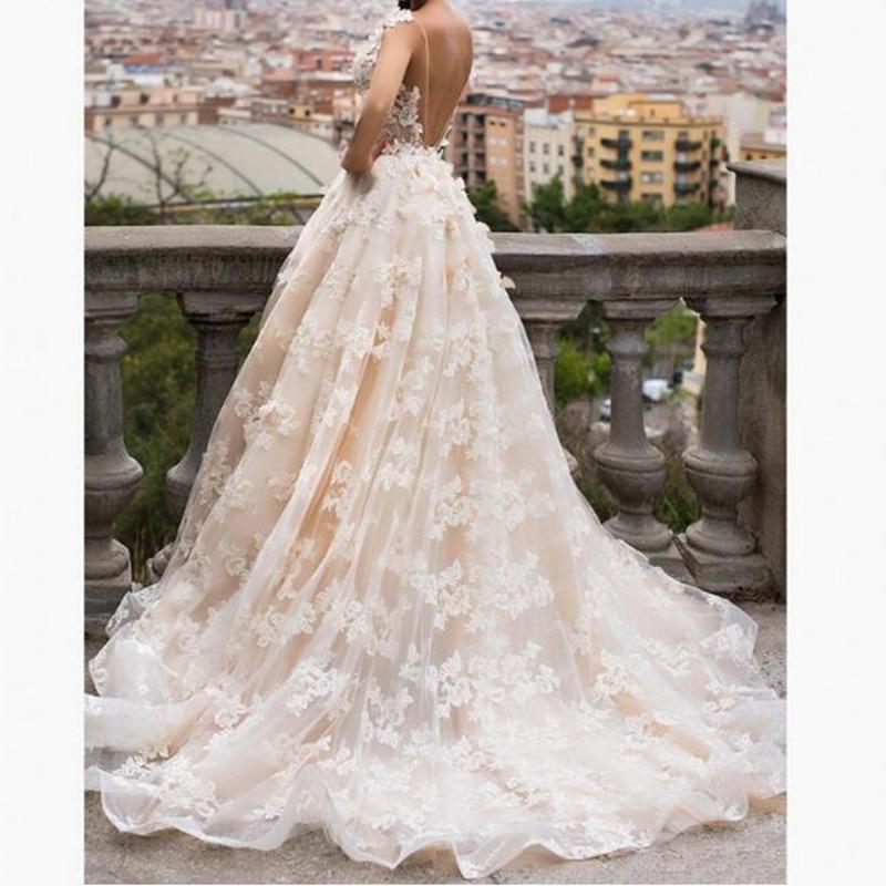 Robes Longueur Col Robe Romantique Mariage Sexy Élégant Étage Applique V Bal Mariée Ivoire Formelle De qZxFfS