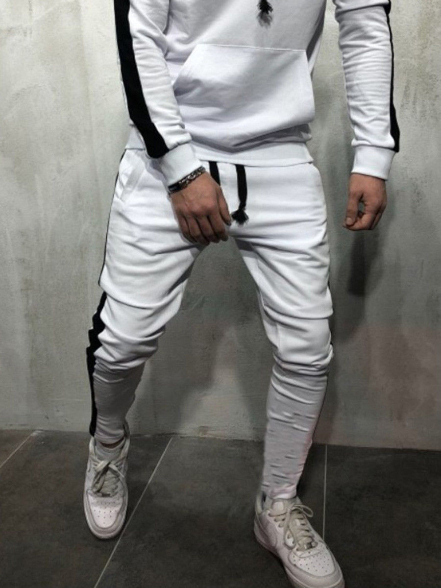 Мужские модные брюки для бега новые полосатые городские прямые повседневные брюки тонкие длинные штаны для фитнеса S-2XL - Цвет: Белый