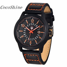 CocoShine B-112 Fashion Men's Leather Band Watches Military Sport Analog Quartz Date Wrist Watch wholesale