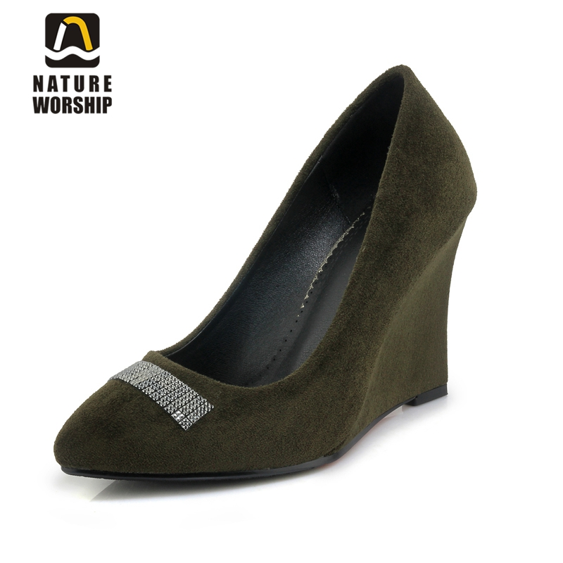 Shallow mouth shoes for women wedges shoes for women pumps wedge pointed toe elegant wedges shoes fashion rhinestone women shoes universe women s shoes genuine leather wedges shallow mouth pointed toe buckle strap e073