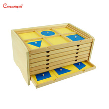 Montessori Geometric Cabinet Sensory Educational Toys Tray Preschool Beech Wood Materials Toy Kids International Version SE036-3 montessori educationcolour contrast professional pack beech wood sensory toys early educational toys free shipping