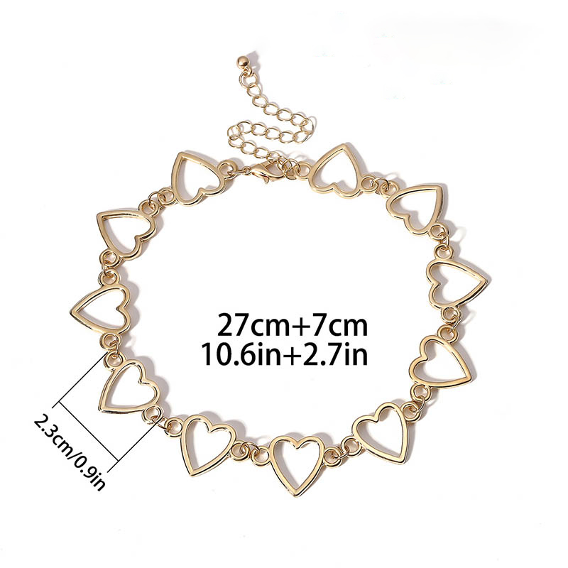 Trendy Heart Shaped Short Choker Necklace for women Gold Silver Necklace Girlfriend Jewelry Gift Fashion Summer Beach Necklace in Choker Necklaces from Jewelry Accessories
