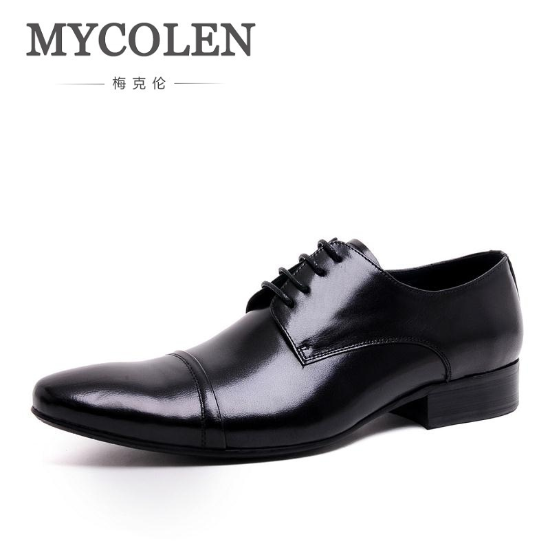 MYCOLEN Luxury Handmade Lace Up Men Dress Shoes Genuine Leather Business Wedding Shoes High Quality Pointed Toe Men Flats patent leather men s business pointed toe shoes men oxfords lace up men wedding shoes dress shoe plus size 47 48