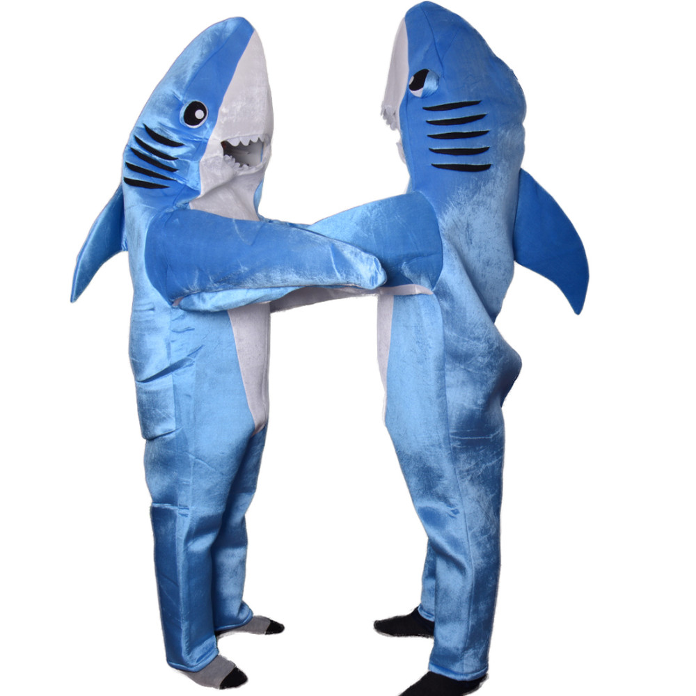 Blue Shark Mascot Matching Couple Fancy Costume