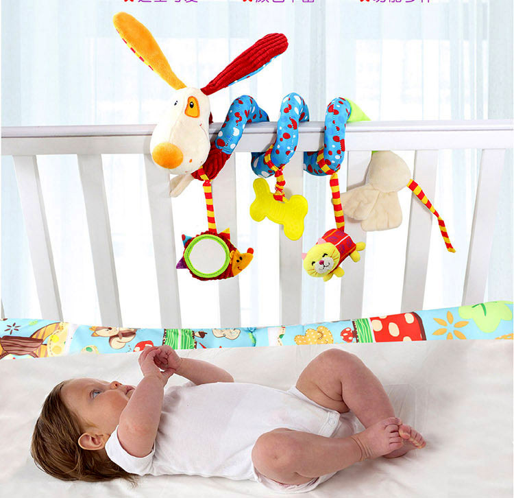 Happy Monkey Teether Baby Doll Bed Hanging Infant Bell kid