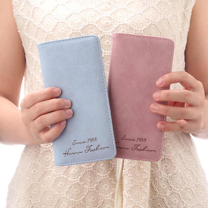 Las mujeres cartera minimalista de Slim largo Bifold mujer embrague marca de cuero monedero, titular de la tarjeta, dinero dólar Cuzdan