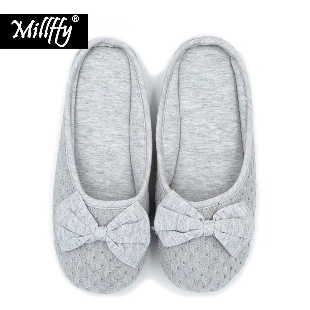 Millffy knitted cotton slipper ballet flats lolita shoes summer home slippers for women bedroom slippers millffy japanese summer ladies flats cotton bow home slippers indoor slippers