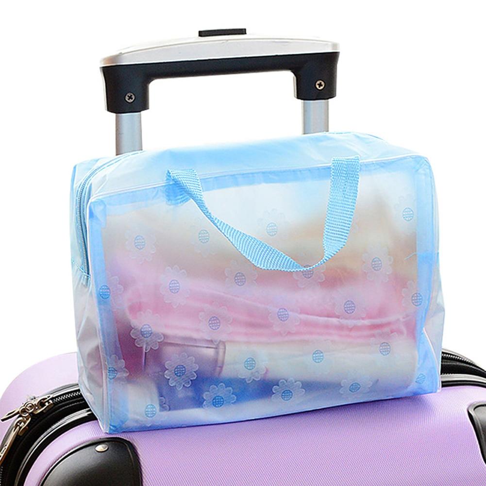 Fashion Storage Bag Bathing Pouch Floral Print Transparent Swimming Storage Pocket Makeup Handheld Sundries Organizer Waterproof