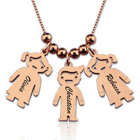 Personalized 925 Silver Pendant Necklace Engrave Names Children Gift Jewelry For Women Mother Children Identification Tags#SS40