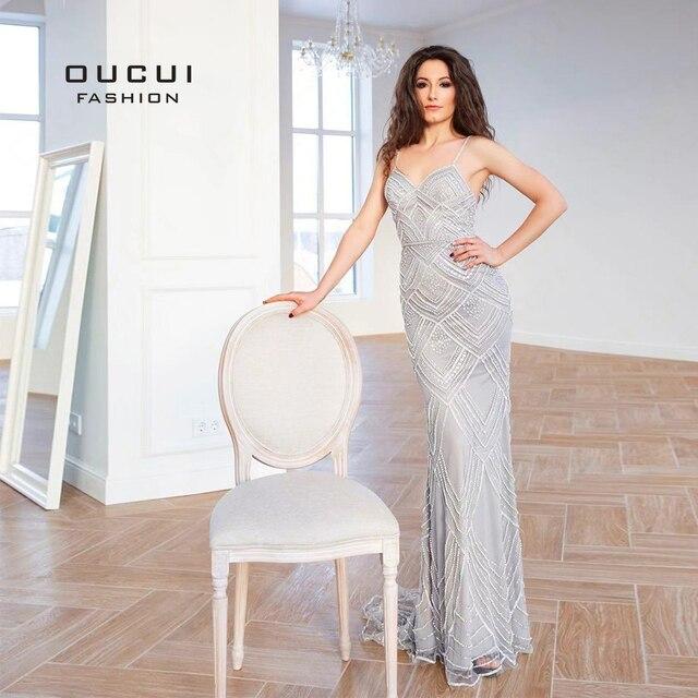 Dubai Luxury Sleeveless Mermaid Evening Gowns 2019 Newest Sexy Diamond Beading Gray Women Dresses Long Party Prom Dress OL103369 2