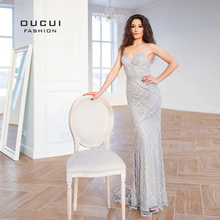 Dubai Luxury Sleeveless Mermaid Evening Gowns 2019 Newest Sexy Diamond Beading Gray Women Dresses Long Party Prom Dress OL103369