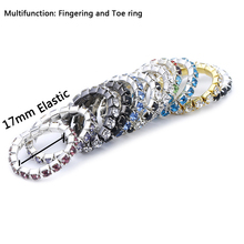 Fashion Foot Rings for Women Row Crystal Rhinestone Adjustable Stretch Foot Toe Rings Gold Silver Color Wholesale 5Pcs/lot
