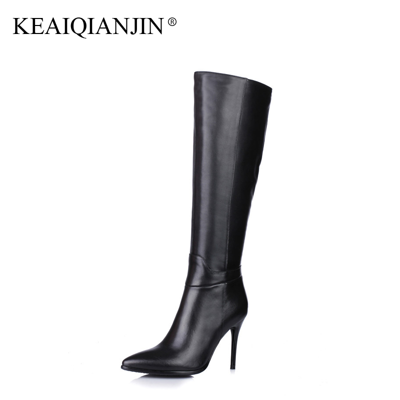 KEAIQIANJIN Woman Knee High Boots Pointed Toe Plus Size 33 - 43 Winter Bottes Shoes Botas Mujer Genuine Leather Riding Boots