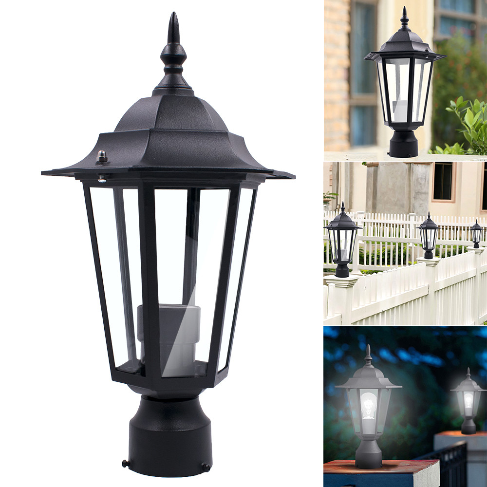 Lamp Shade Post Pole Light Outdoor Garden Patio Driveway Yard Lantern Lamp Fixture Black Rod Pole 13.4x7.5x2.5inch