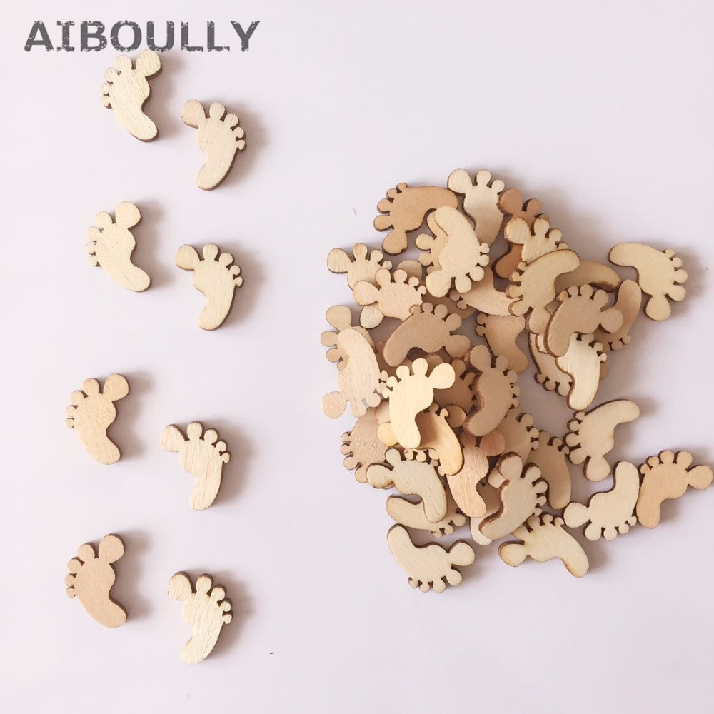 100pcs DIY Natural Wooden Cute Baby Foot Spacer Loose Beads Fit kids Handmake Baby Show Wedding Xmas Party Crafting Decoration