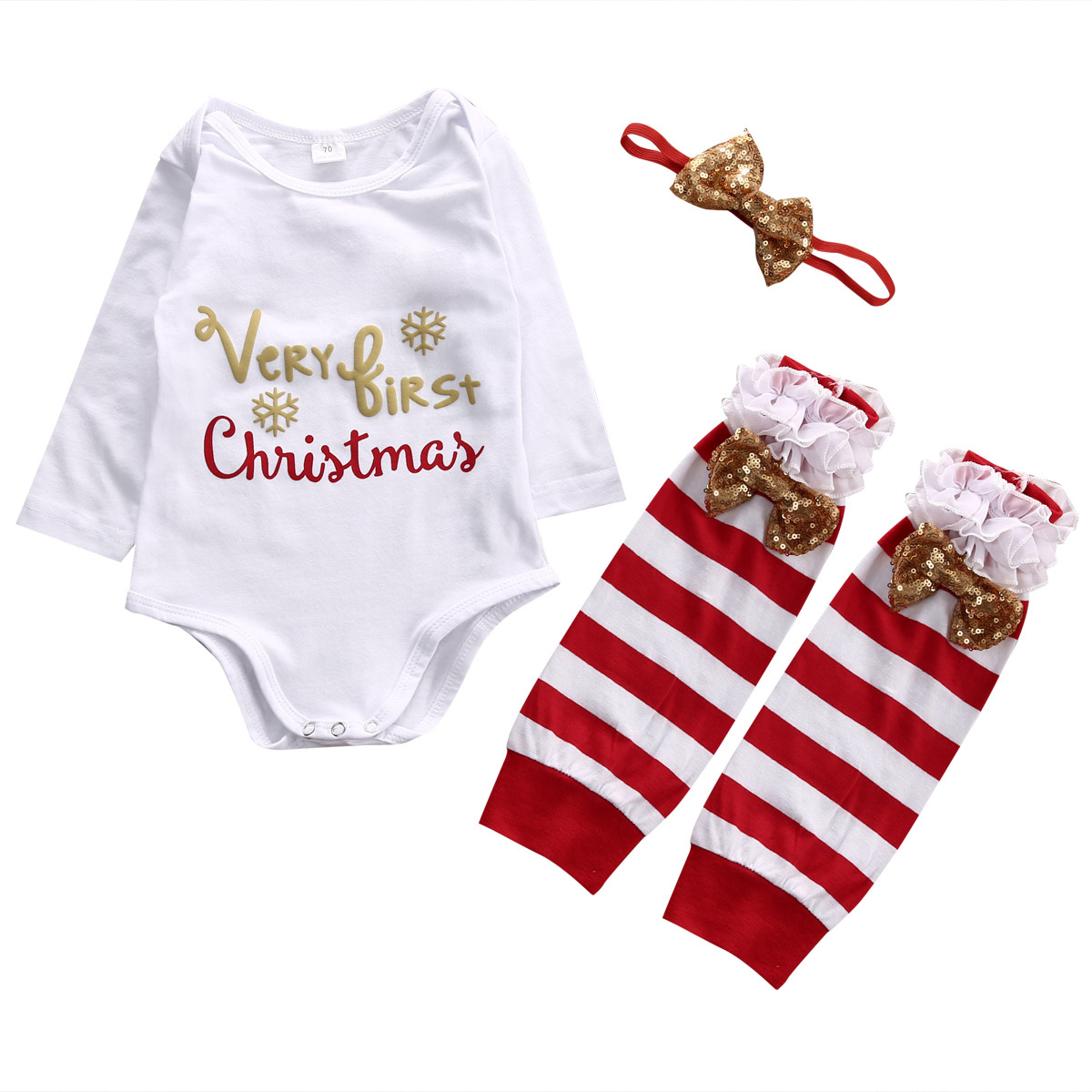 √Infant Baby Girl Clothes Romper Bodysuit 4PCS Outfits Newborn Kids ...