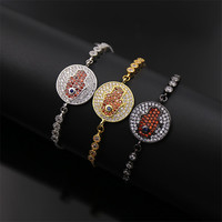 Dower Me Hot Sale Turkish Jewelry Exquisite Palm Shape Totem Round White Zirconia Red Crystal Stretch
