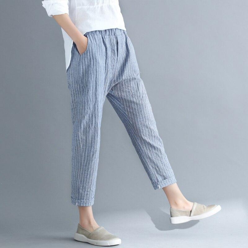 New Thin Cotton Linen Harem Pants Women Summer Autumn Plus Size Striped Pant Female Elastic Waist Ankle-Length Leggings 4XL M289 3