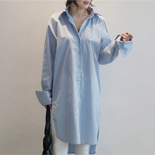 Loose Medium Long Shirt Women New 2017 Spring Shirt Single-breasted Solid Color Blue Shirt POLO Collar Long Sleeve Cotton Shirt
