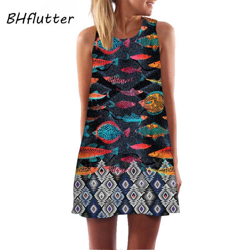 BHflutter 3D Digitale Bloemenprint Jurk Vrouwen Nieuwe Collectie Casual Losse Zomer Jurk 2019 Mini Black Chiffon Party Dress Vestidos
