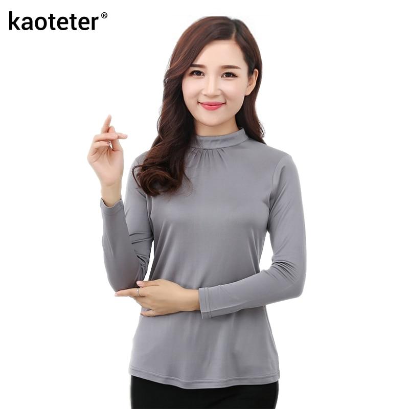 100% Pure Silk Women's T-shirts Femme Wild Long Sleeve Shirt Women Stand Collar Tees Shirt Fashion Woman Tops Female T-shirt