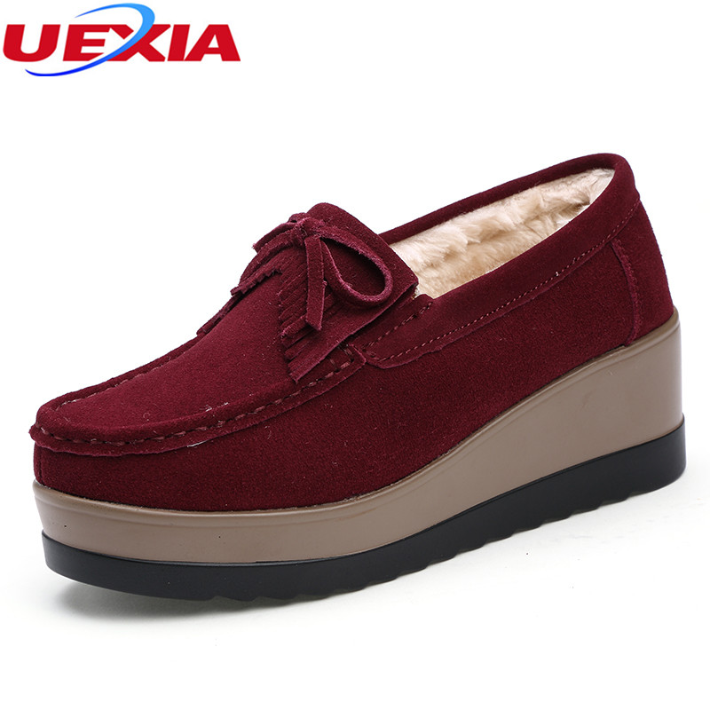 UEXIA Winter Fur Shoes Woman Warm Plush Flat Platform Women Shoe Solid Slip On Female Flats Cotton Female Loafers Flock Footwear jingkubu 2017 autumn winter women ballet flats simple sewing warm fur comfort cotton shoes woman loafers slip on size 35 40 w329