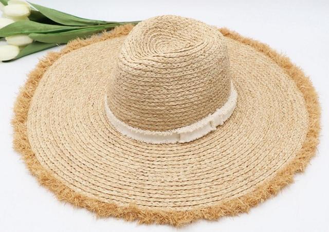 6pcs Brand Women Large Wide Brim 13cm Floppy Nature Raffia Hats Ladies  Summer Big Beach Sun Straw Caps Big Brim Cap Wholesale 9ae84a54224