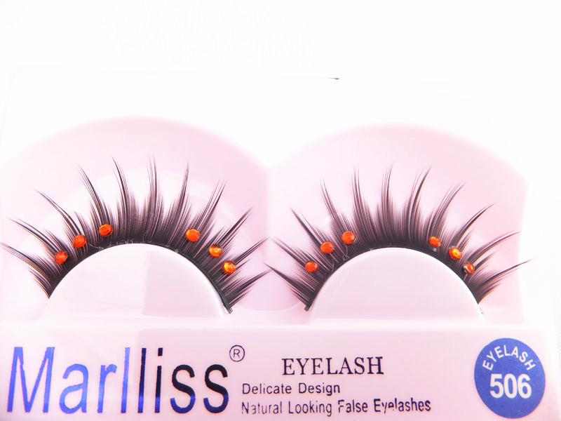 thick eyelashes With red drill FALSE EYELASH NO.506 FAKE EYE LASH SOFT NATURE LONG BLACK MAKEUP All handmade non-toxic material