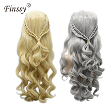Game of Thrones Dragon Mother Cosplay Wig Jewelry Wavy Curls Gold Silver Long